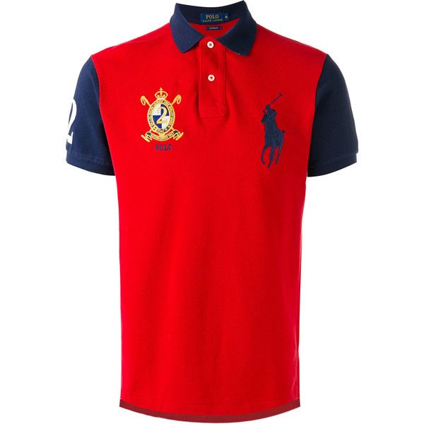 Polo Ralph Lauren embroidered logo polo shirt ($132) ❤ liked on Polyvore featuring men's fashion, men's clothing, men's shirts, men's polos, red, mens red polo shirt, mens polo shirts, mens red shirt, polo ralph lauren mens shirts and mens cotton shirts