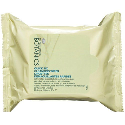 Boots Botanics Quick Fix Cleansing Wipes 30 ea by BOOTS. $6.99. These convenient face wipes gently cleanse away every last trace of make-up without over drying the skin. Containing soothing mallow extract to help calm the skin and cleansing agents to remove impurities, your skin will feel beautifully soft and smooth, whether you are on-the-go or just short of time. Suitable for even the most sensitive skins. Dermatologically tested.