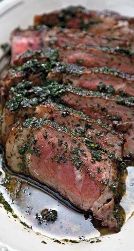 steak with herb sauce....