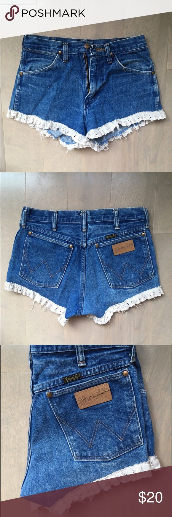 Urban Outfitters Wrangler lace trim shorts Cheeky lace trim shorts with ahdorable details! Great color - not too washed out. Slimming cut and great fit! Perfect for summer! Urban Outfitters Shorts Jean Shorts
