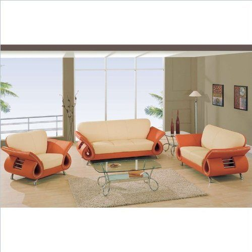 Global Furniture USA Charles Leather Living Room Set in Beige & Orange by  Global Furniture USA - 25+ Best Ideas About Orange Leather Sofas On Pinterest Brown