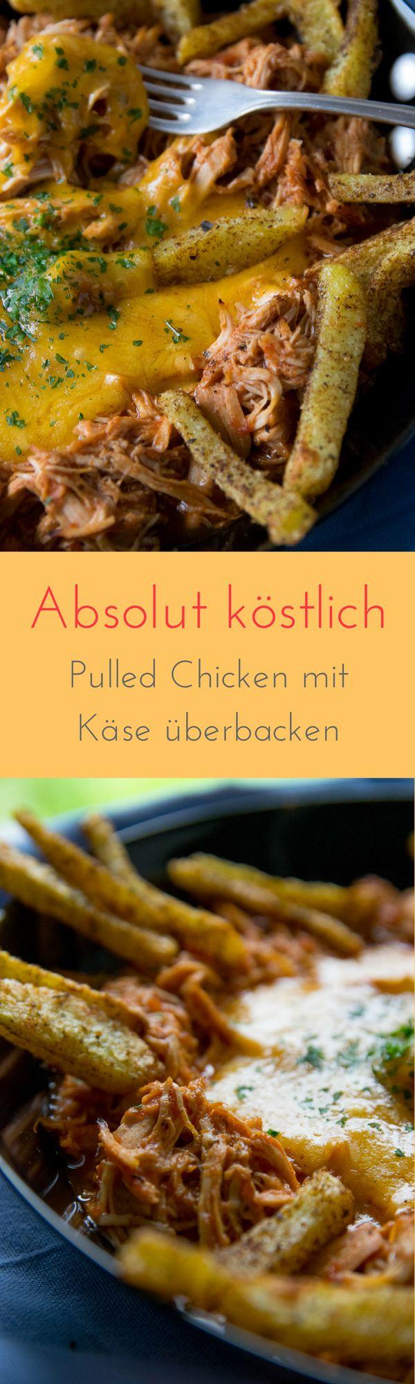 Cheesy BBQ Pulled Chicken - saftiges Hähnchenfleisch mit Käse überbacken