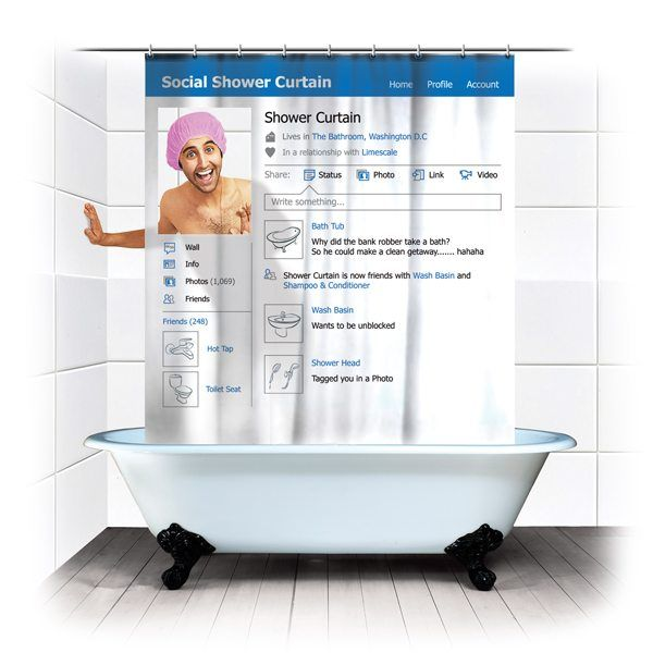 Social Shower Curtain for Facebook Addicts