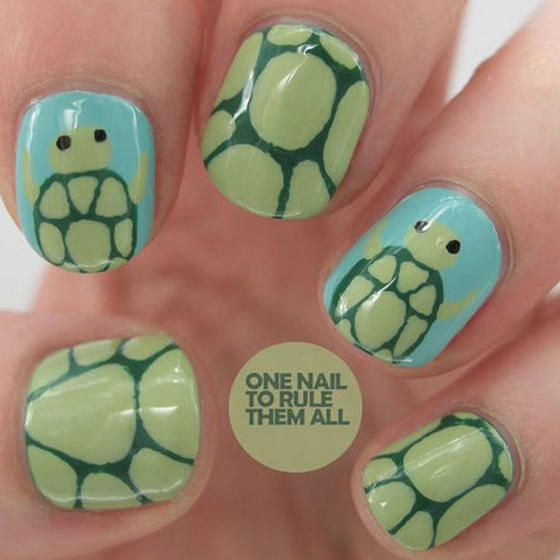 Go ahead and take your time with this turtle nail art that's sure to  impress your - 25+ Beautiful Turtle Nail Art Ideas On Pinterest Turtle Nails