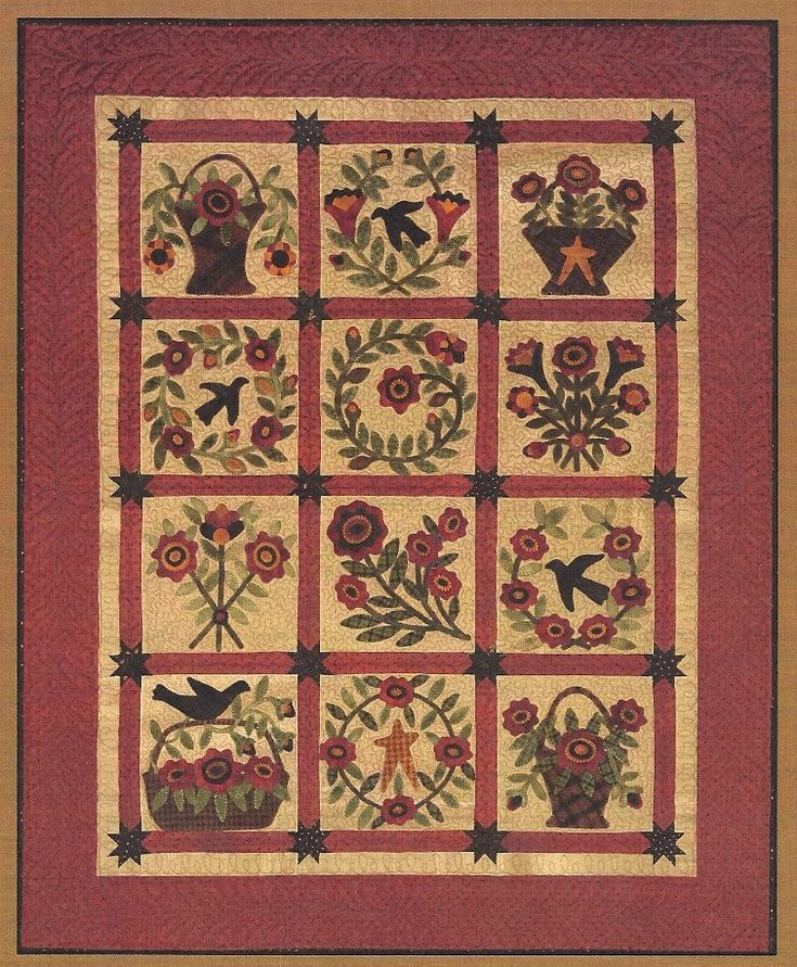 Primitive Folk Art Wool Applique Quilt Pattern: SUMMERTIME