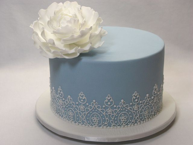 Lace Piping wedding cake with sugar peony by Creative Cakes by Julie, via Flickr