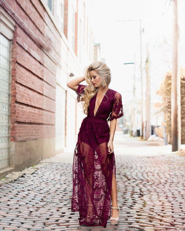 Merlot Lace Fall Maxi - OliviaRink.com