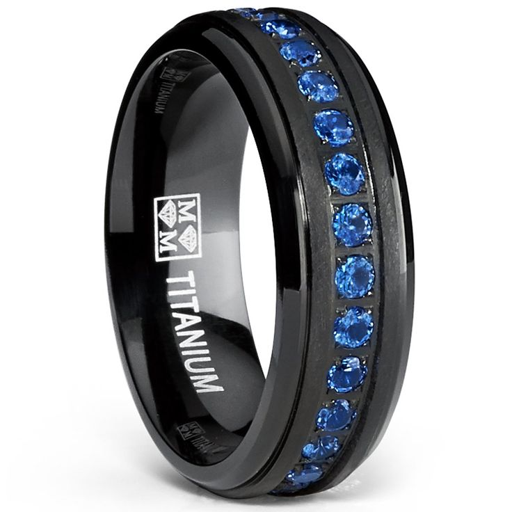 Black Titanium Men's Eternity Ring Band With Deep Blue Cubic Zirconia CZ, Size 7: