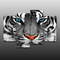 Wish | 4 Panels Modern Photo Picture Tiger Face Room Decor Canvas Art Painting Picture Photo Living Room Office Canvas Painting for Women and Men (Size: L)