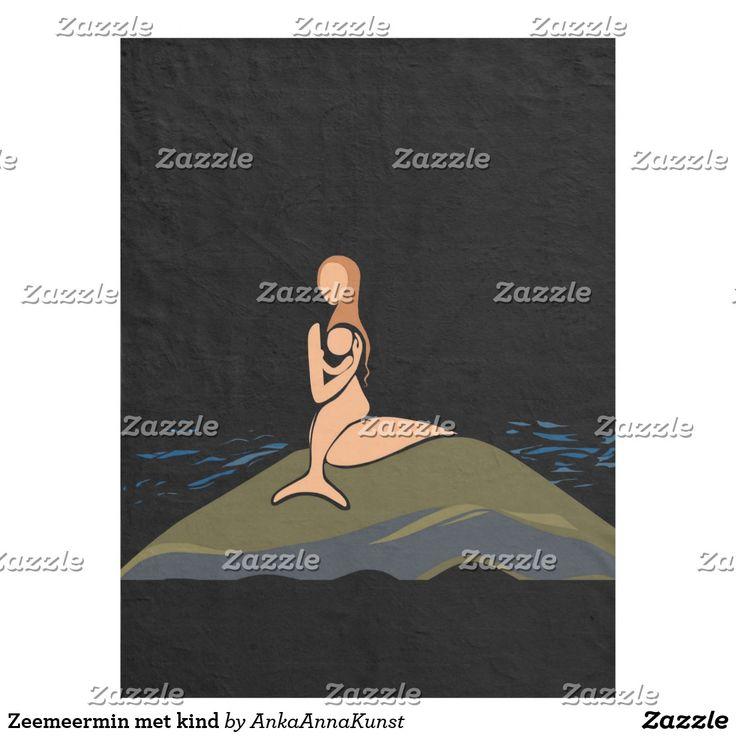 Zeemeermin met kind fleece deken