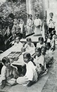 """Maria Montessori -National HIndu Girls' School,Madras 1918. followed worldwide and her method of education has been called the """"discovery of the child"""" and the realization that: """"...mankind can hope for a solution to its problems, among which the most urgent are those of peace and unity, only by turning its attention and energies to the discovery of the child and to the development of the great potentialities of the human personality in the course of its formation."""""""