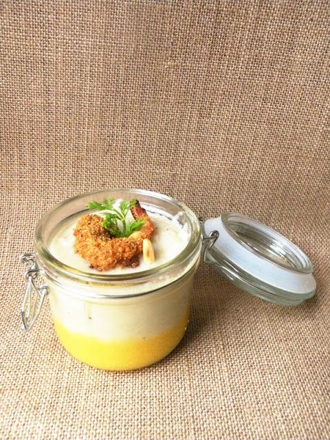 Gelo d'arancia con purea di finocchio e mazzancolla di panettone