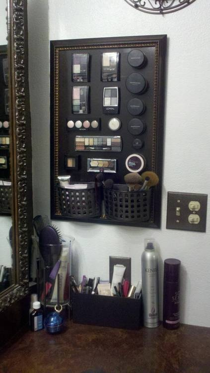 Makeup Magnetic Board - Picture Frame, Metal Sheet, Magnets, Soap Holders, Spray Paint