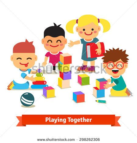 Kids playing with bricks and toys together in kindergarten room. Flat vector illustration isolated on white background.