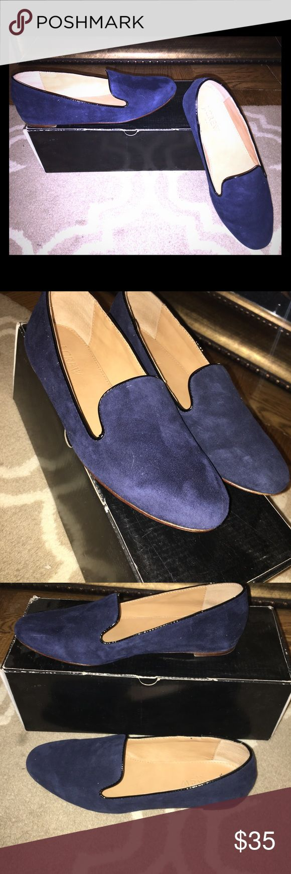 JCREW ADDIE SUEDE LOAFERS- color ROYAL NAVY Excellent condition suede loafer in rich royal navy color. Worn 2x max. Slight scratch on inner left shoe hardly noticeable. Fully suede protected. Inner leather as new. Comes in original jcrew box with details. J. Crew Shoes Flats & Loafers