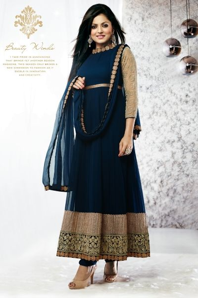 Blue Faux Georgette Salwar kameez with Jari Work and Lace Work