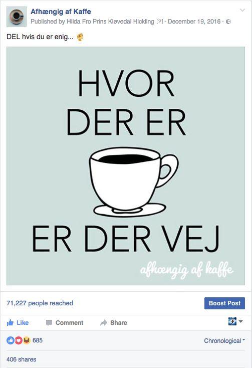 AAK-citatpost-populær kaffe citat ordspil ordsprog - hvor der er kaffe er der en vej - en (ud)vej