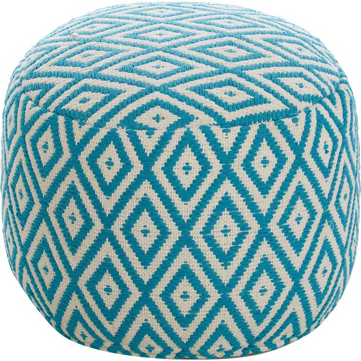 Javi Home Teal Geometric Patterned Pouf