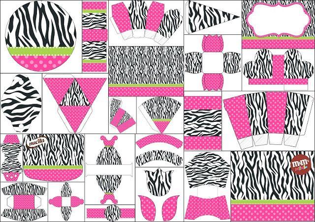 Glam Pink and Zebra Free Printable Kit.