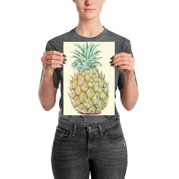 Pineapple watercolor art print/fruit wall decor/pineapple