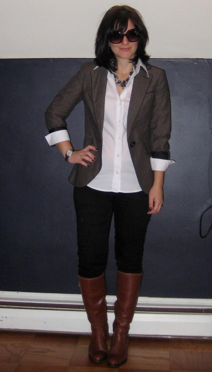 Brown blazer white button up shirt black jeans and for White shirt brown buttons