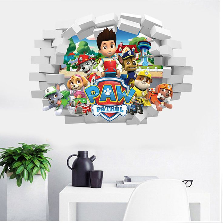 Removable 3d paw patrol wall stickers decorative self-adhesive pvc kids bedroom wallpaper cartoon decals