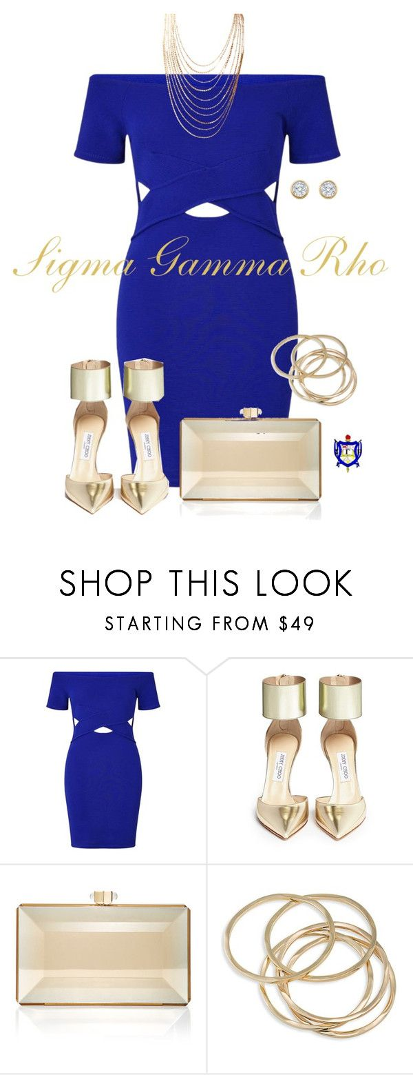 """Sigma Gamma Rho Sorority, INC"" by texasradiance ❤ liked on Polyvore featuring Miss Selfridge, Jimmy Choo, Judith Leiber and ABS by Allen Schwartz"