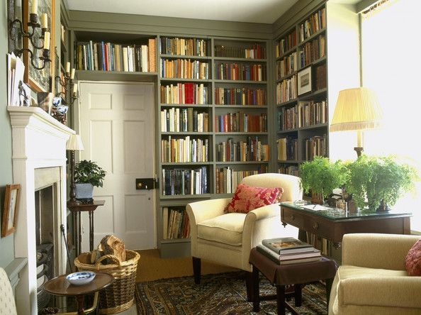 Green Living Room Photos (97 of 105) - Lonny | The best library design ideas! See more inspiring images on our boards at: http://www.pinterest.com/homedsgnideas/library-design-ideas/