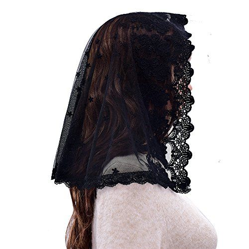 Veil measures approximately 31 across by 18 front to back.  Our Catholic veils are suited to any occasion in church or out and about. Whether you??re attending mass or simply seeking to update your wardrobe with a discrete yet stunning new garment our unique lace mantillas are the perfect option.  Features  Made of high quality lace. One edge of the silver is surged and the other is scalloped.  Veil measures approximately 31 across by 18 front to back.  The veils are hand washable with…