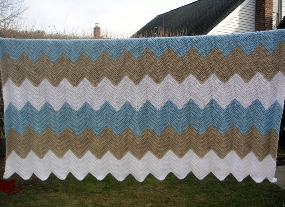 Crocheted Afghan in White SkyBlue and Old by LynnsCreativeCrochet, $60.00