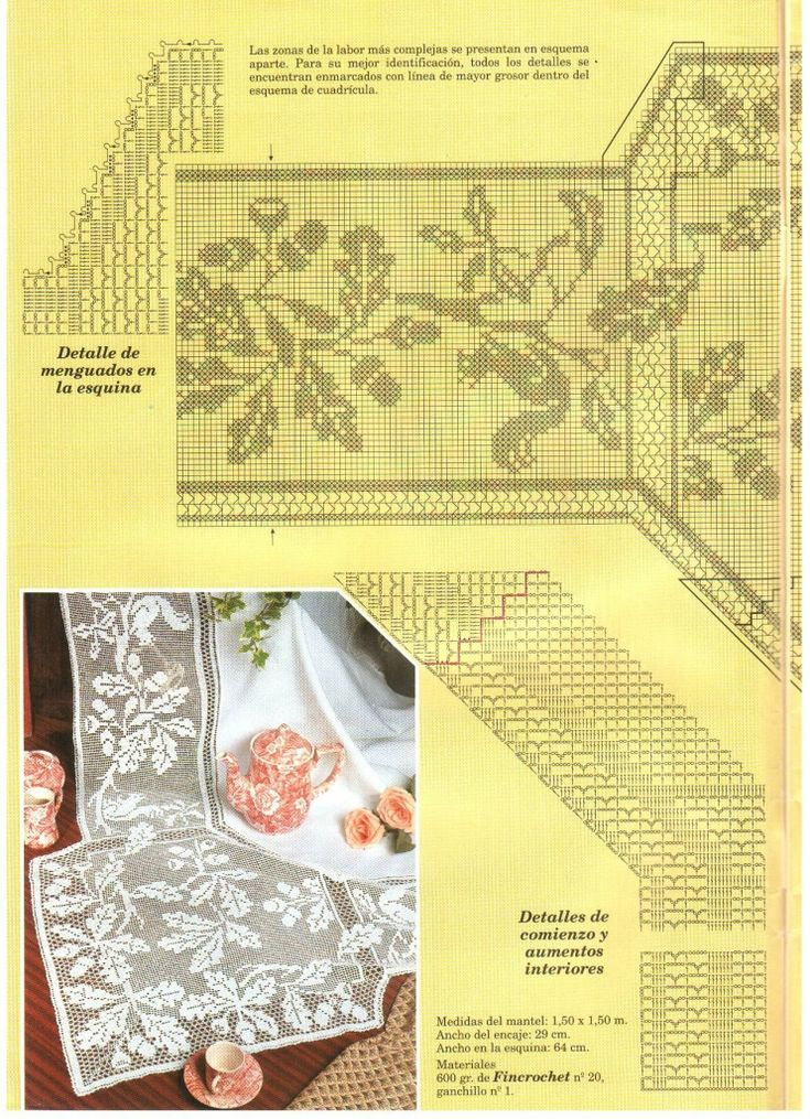 "Filet Crochet Chart. (Part 2/3) Oak and Squirrel Design by Mary Card. ""Muestras y Motivos: Especial Manteles 3"", (738×1024)"