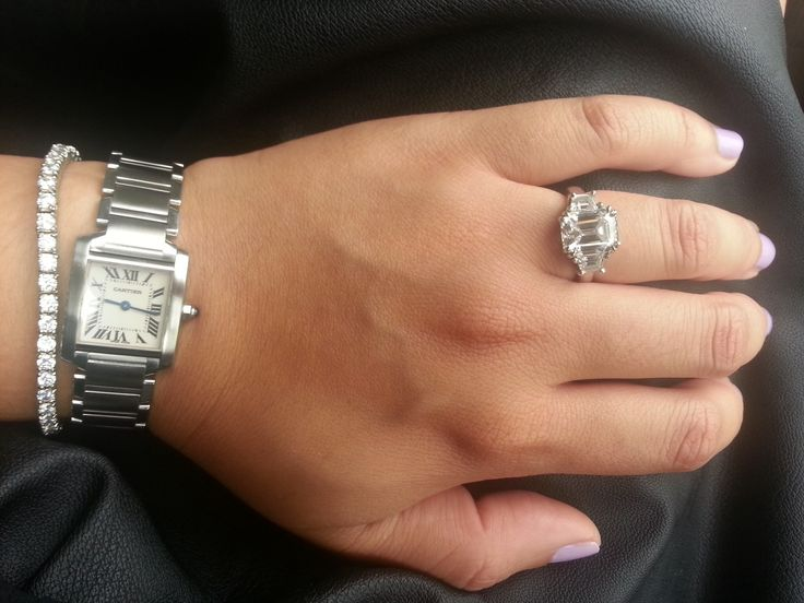 Emerald Cut Engagement Ring Cartier Tank Francaise Small