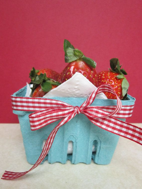 Berry baskets made of recycled paper pulp in the prettiest shade of turquoise. Sturdy and eco friendly. Biodegradable.  Not just for berries! Use