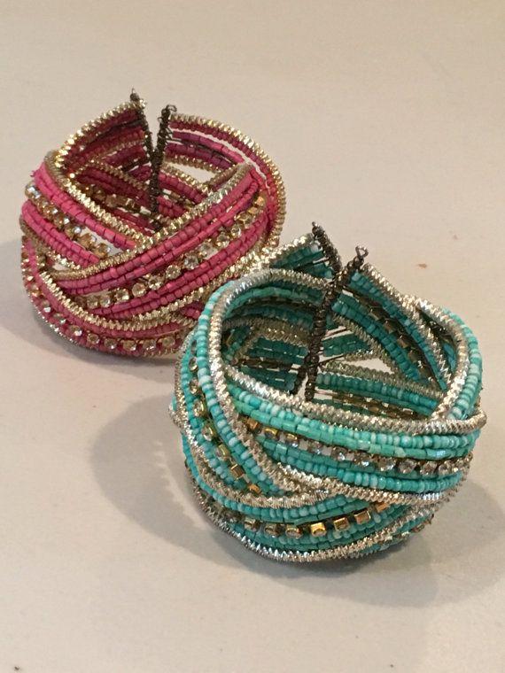 Vintage Cuff and wrap Bracelet, bead and rhinestone bracelet Set of 2