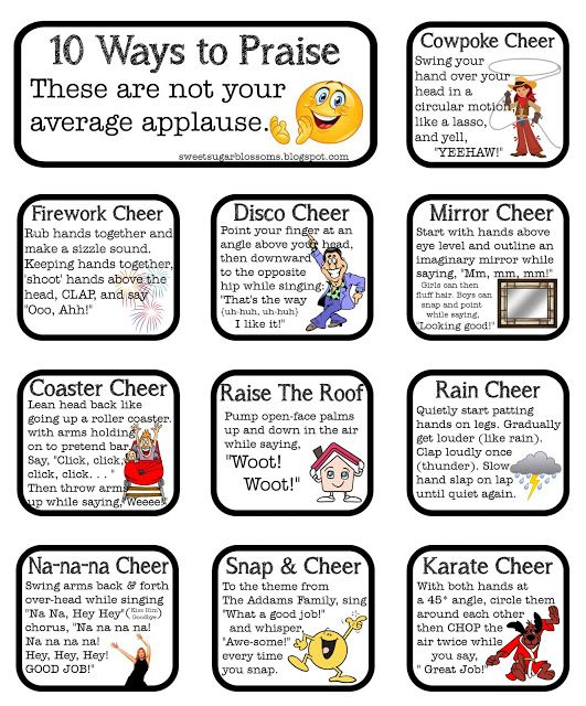 Free Love it-- 10 fun ways to applaud classmates. Ways for the class as a community to celebrate a student's work