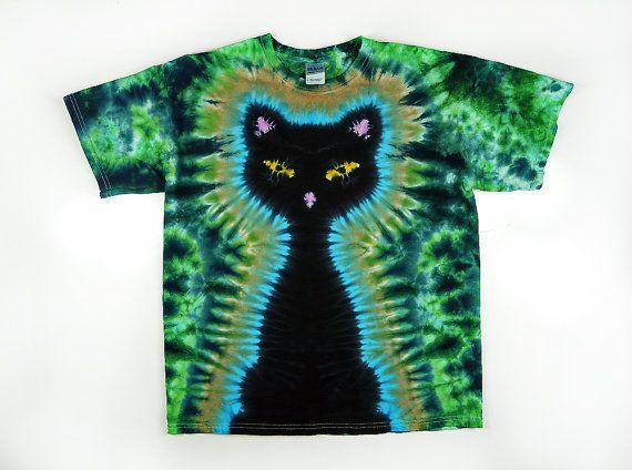 Black Cat / 2X 3X 4X Plus Size / Tie Dye Shirt by SunflowerTieDyes, $37.00