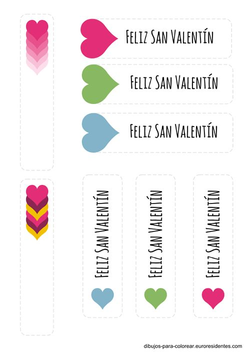 etiquetas san valentín, marcapaginas