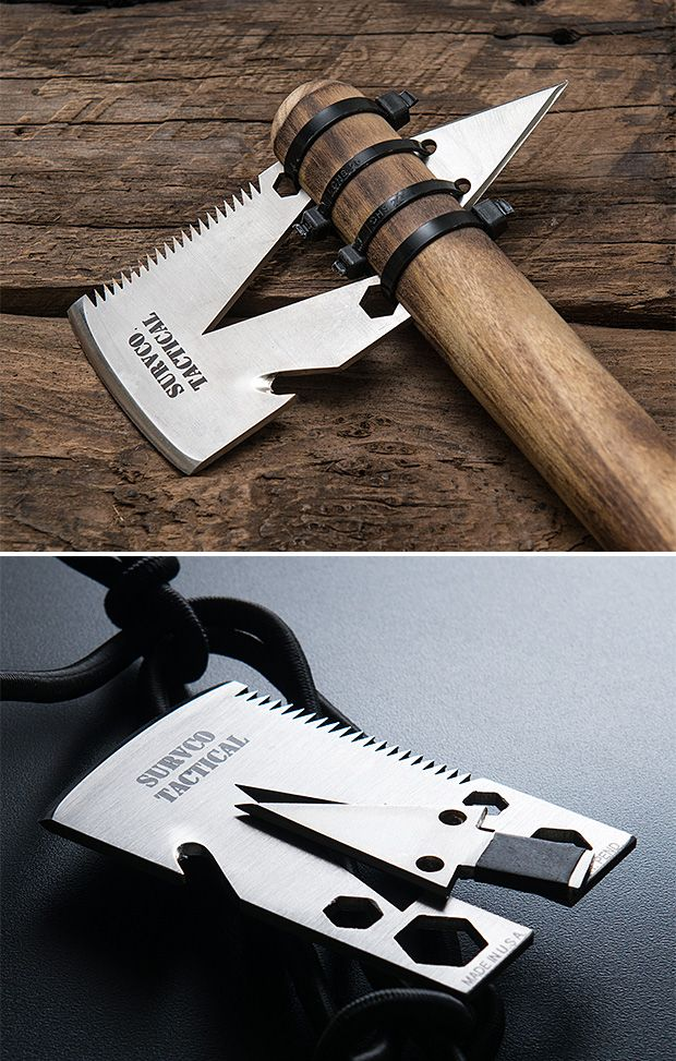 SURVCO Tactical Credit Card Ax - Slim enough to carry in your wallet, the Credit Card Ax is a serious survival tool. It's made of 12-gauge stainless with a transformer design that you can turn into an actual axe with a makeshift handle & a few zip ties.