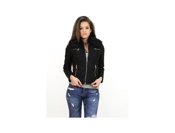 Jachetă Scurtă cu Guler de Blană - Jachete & Paltoane - Famevogue  #jacheta #famevogue #stil #moda #jacket #fashion