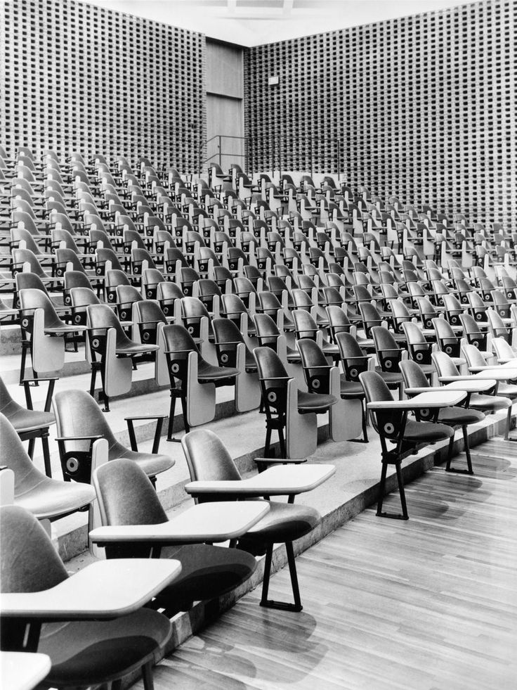 Eames in this Korab photo of lecture hall at University