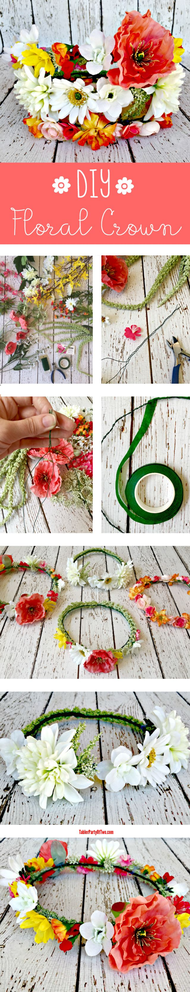 DIY Floral Crown... so pretty for weddings and festivals! TablerPartyofTwo.com