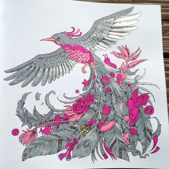 From Kerby Rosanes ANIMORPHIA Colored With Gel Glitter Flourescent Markers By Michele Hauf Adult ColoringColoring BooksColouringTrainColor
