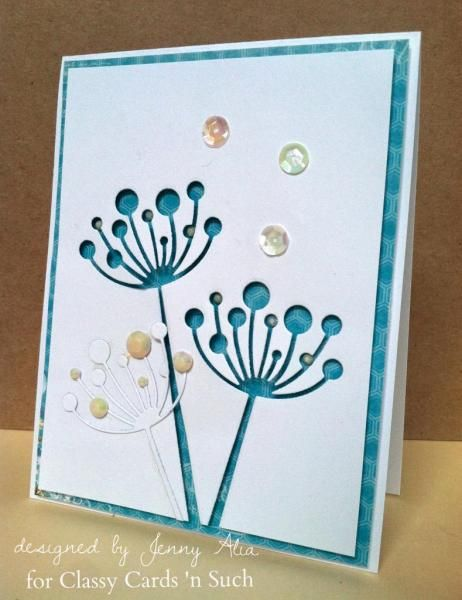 Nice use of the positive and negative cuts of Memory Box Chloe Stem die to make a simple yet stylish card.