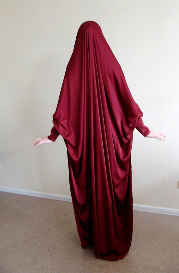 Long Silk Khimar muslim dress Burgundy BurqaWedding Abaya
