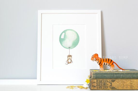 Sage Green, Balloon Picture, Nursery Art Print, Children's Bedroom, Baby Boy, Baby Shower Gift, Whimsical, Modern Kid's Art, UK Nursery Art by DaisyandBump on Etsy https://www.etsy.com/listing/189564214/sage-green-balloon-picture-nursery-art