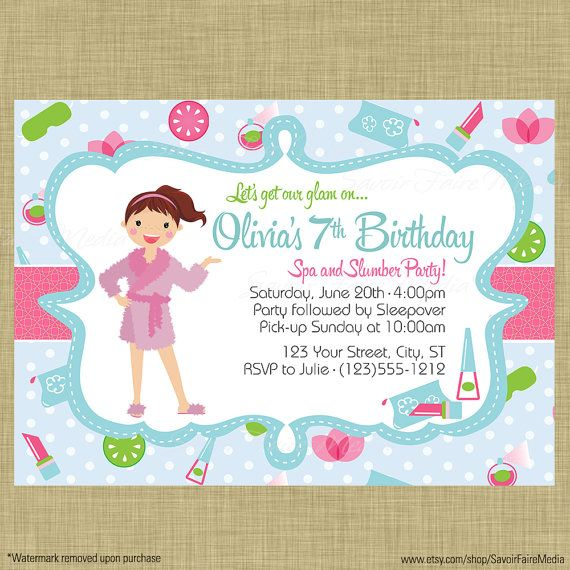 De 21 b sta Spa and Slumber Party Invitations and Decorbilderna – Spa Slumber Party Invitations