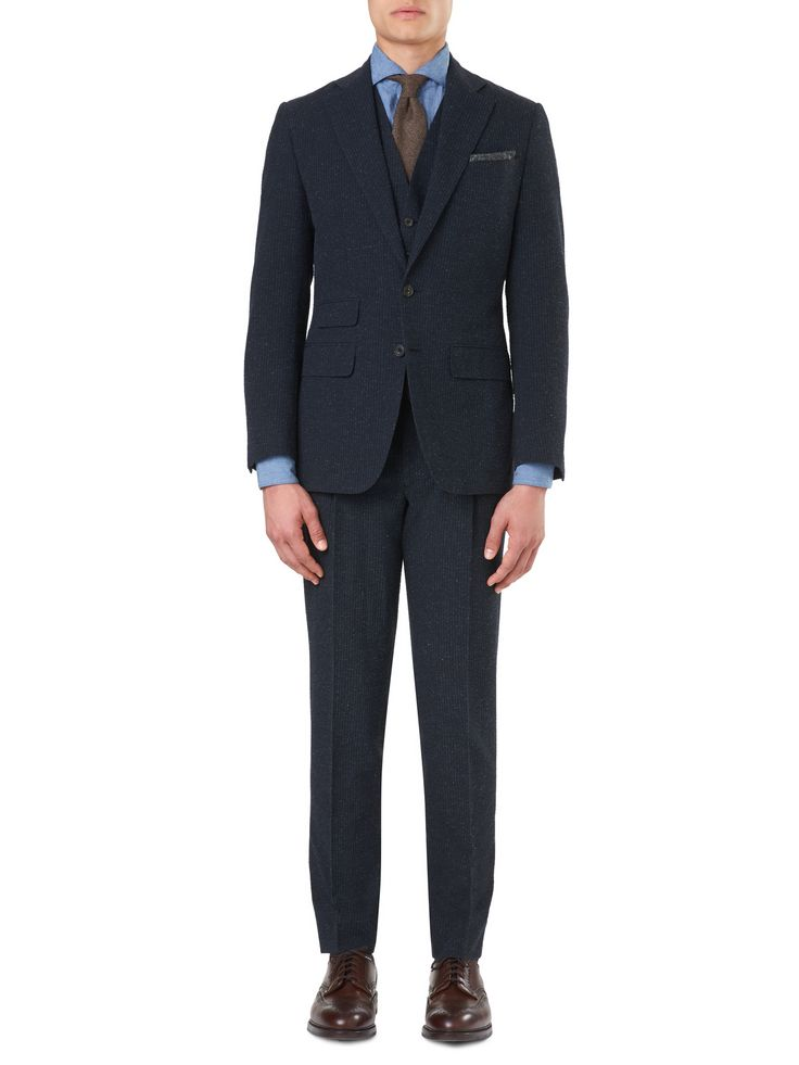 Men's Mount Suit Jacket in Navy Seersucker Wool | Thom Sweeney