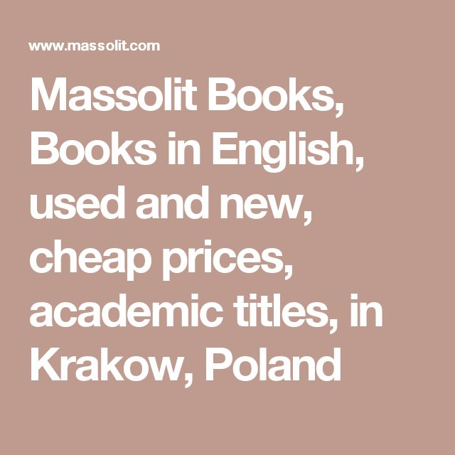 Massolit Books, Books in English, used and new, cheap prices, academic titles, in Krakow, Poland
