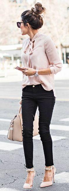 Schluppenbluse zur Skinny Jeans