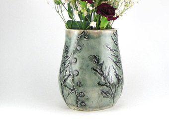 Hierba impresa florero para flores, titular de utensilio de cocina, Jarrón de porcelana negro y verde pálido, hechas a mano vaso, vasija cerámica 17/05/20